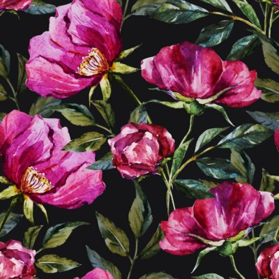 Canvastavlor Vattenfärg blommönster