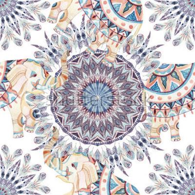Canvastavlor Vattenfärg etnisk elefant och fjäder mandala bakgrund. Abstrakt fjäder mandala löser monster med utsmyckade indiska elefanter på vit bakgrund. Handmålade-illustration för boho, stamdesign