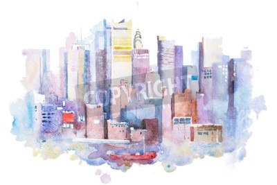Canvastavlor vattenfärg ritning av New York stadsbilden, USA. Manhattan akvarellmålning.
