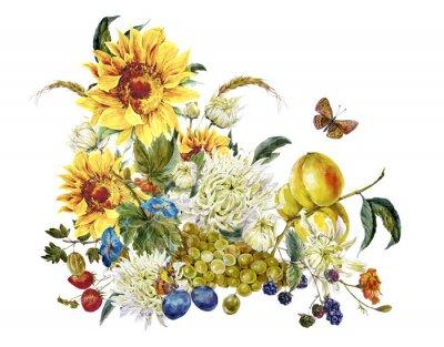Canvastavlor Vattenfärg tappning kort med krysantemum, frukter, solrosor