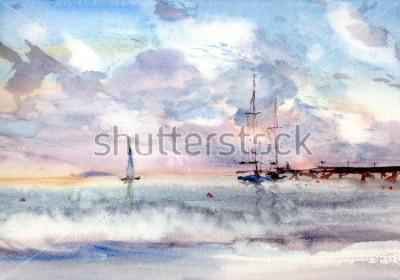 Canvastavlor Vattenfärgs portlandskap