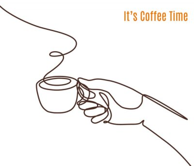 Canvastavlor Vector coffee illustration drawn with one line. Hand with a cup of coffee.