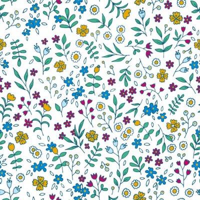 Canvastavlor Vector färgrik blom- seamless