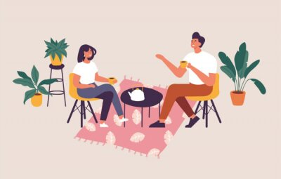 Canvastavlor Vector illustration couple sitting at the table, drinking tea or coffee and talking. Romantic date in a cafe.