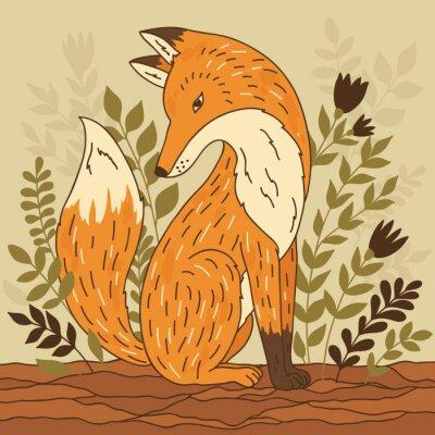 Canvastavlor Vector illustration med räv