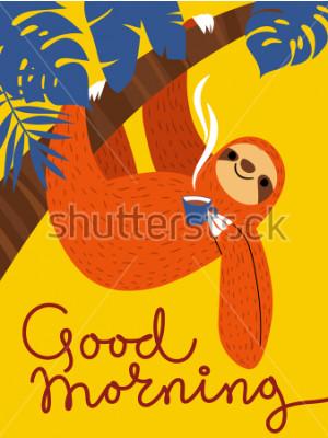 Canvastavlor Vector kort med söt sloth karaktär och kaffekopp. Gud morgonaffisch.