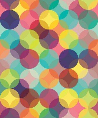 Canvastavlor Vector modern seamless färgrik geometri mönster cirklar överlappning, färg abstrakt geometrisk bakgrund, tapet tryck, retro textur, hipster modedesign,