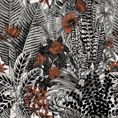 Canvastavlor Vector solomon vintage monster. Exotiska blommor och växter. Botanisk klassisk illustration.