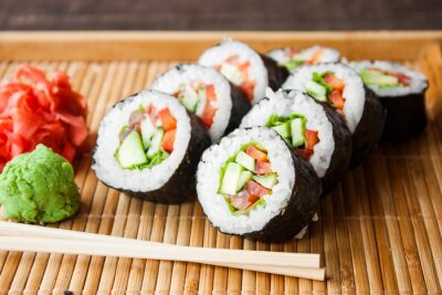 Canvastavlor vegetarisk sushi roll