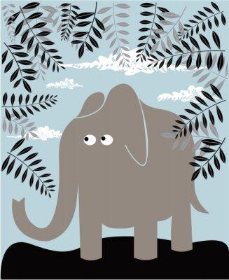 Canvastavlor Vektor bakgrund med elefant och bladverk