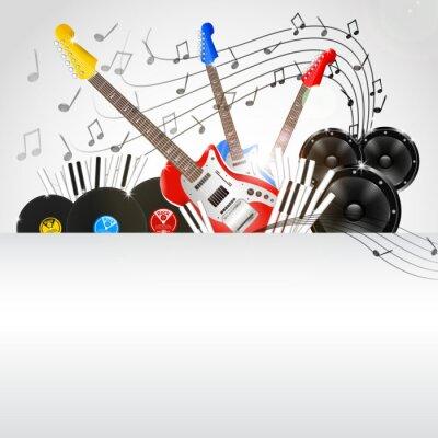 Canvastavlor Vektor bakgrundsmusik med instrument och musikutrustning