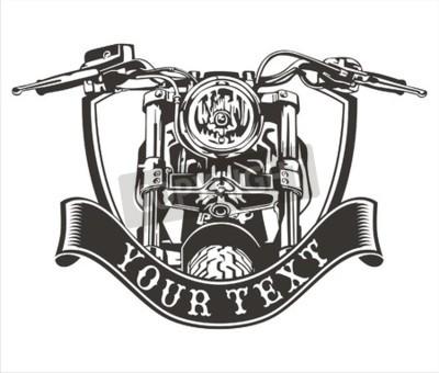 Canvastavlor vektor design vintage motorcykel med ett band under