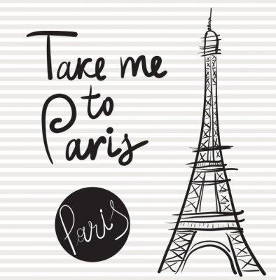 Canvastavlor Vektor handritad illustration med Eiffeltornet
