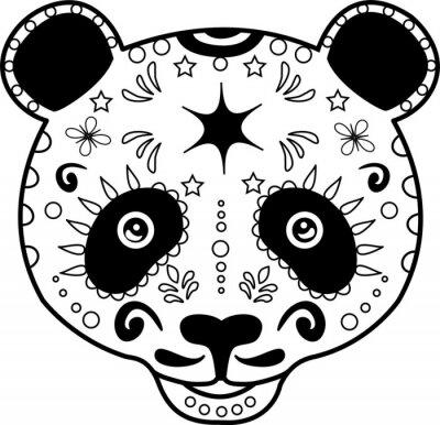 Canvastavlor vektor illustration av en svart och vit panda huvud