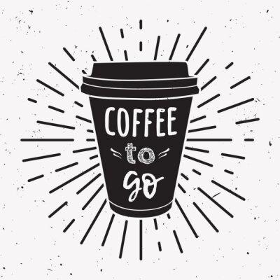 Canvastavlor Vektor illustration av en ta bort kaffekopp med fras