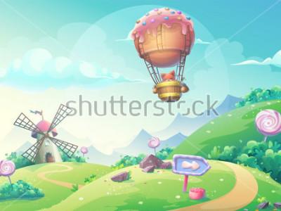 Canvastavlor Vektor illustration av ett landskap med marmelad godis kvarn och fävla i blimp. För utskrift, skapa videoklipp eller webbdesign, användargränssnitt, kort, affisch.