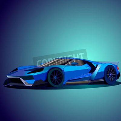 Canvastavlor Vektor illustration av nya blå sportbil.