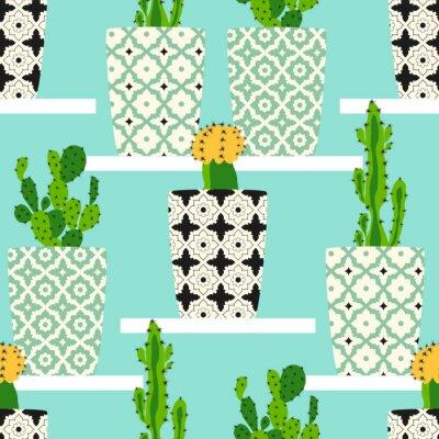 Canvastavlor Vektor mönster med kaktusar. Söta kaktusblommor i prydnads krukor. Hand ritning illustration.