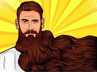 Canvastavlor Vektor popkonst illustration av en brutal skäggig man, macho med mycket långt skägg över hela bilden