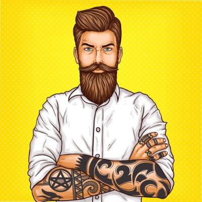 Canvastavlor Vektor popkonst illustration av en brutal skäggig man, Macho med tatuering vikde armarna över hans bröstkorg
