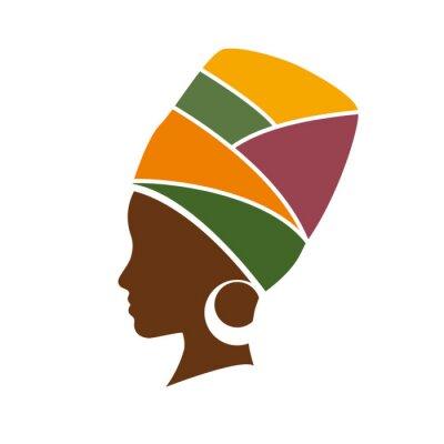 Canvastavlor Vektor profil afrikansk kvinna med hatt