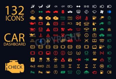 Canvastavlor vektor samling Bilinstrumentbräda panelindikatorer, gul röd grön blå indikatorer 132 ikoner