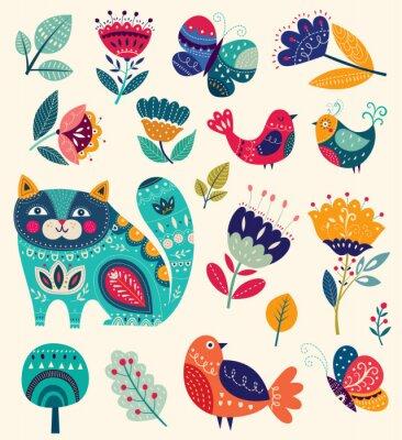 Canvastavlor Vektor samling med blommor, dekorativa katt, fjäril och fåglar
