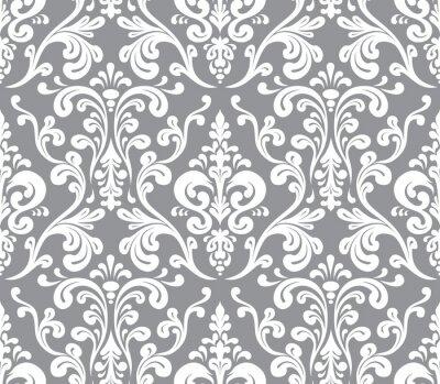 Canvastavlor Vektor. Seamless elegant damast mönster. Grå och vit