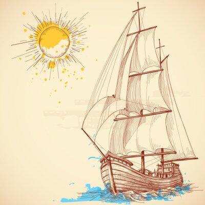 Canvastavlor Vektor segelbåt
