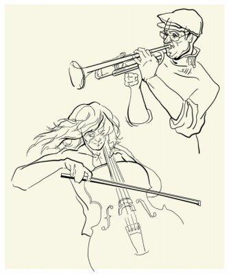 Canvastavlor Vektor skiss av musicants.