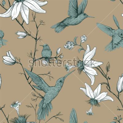 Canvastavlor Vektor skissmönster med fåglar och blommor. Antik sömlös mönster med dragna blommor. Blomsten provence tapeter. Design för webb, papper, omslag, textil, tyg, tapeter