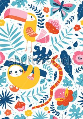 Canvastavlor Vektor sömlösa tropiska monster med söta djur tecken, toucan, sloth, orm, fjäril