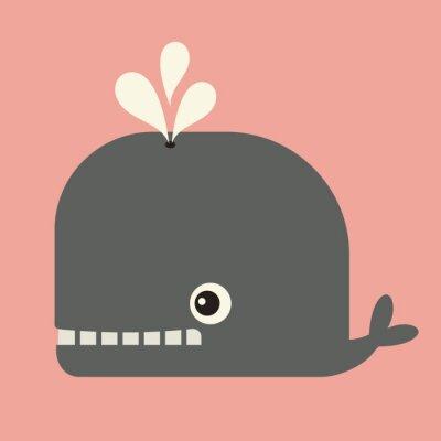 Canvastavlor vektor söta whale