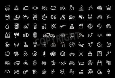 Canvastavlor vektor svart auto ikoner uppsättning