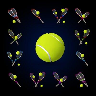 Canvastavlor Vektor tennis symboler som designelement, tennisbollar, tennis r