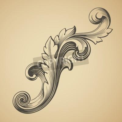 Canvastavlor vektor vintage barock designramen mönsterelement gravyr retrostil