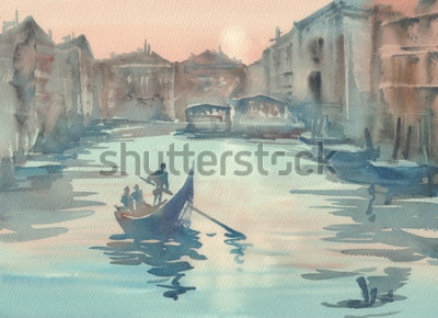 Canvastavlor Venedig skissar i morgonmistvattenfärglandskapet med en gondol