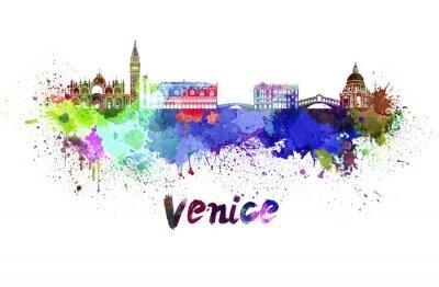 Canvastavlor Venedig skyline i vattenfärg