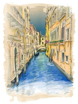 Canvastavlor Venedig - vatten kanalen, gamla byggnader och gondol bort