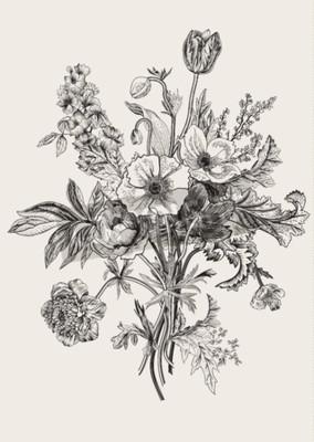 Canvastavlor Victorian bukett. Vårblommor. Vallmo, anemoner, tulpaner, riddarsporre. Tappning botanisk illustration. designelement. Svartvitt. Gravyr
