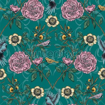 Canvastavlor Viktoriansk trädgård. Blommigt sömlöst mönster. Vektor illustration.