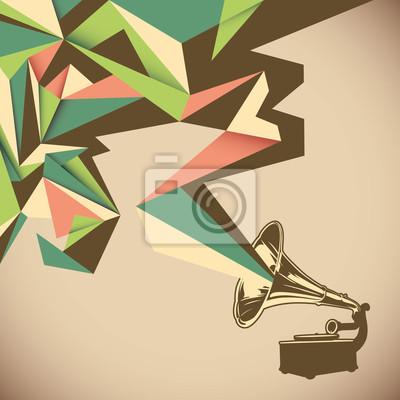 Canvastavlor Vinkel abstraktion med gammal grammofon.