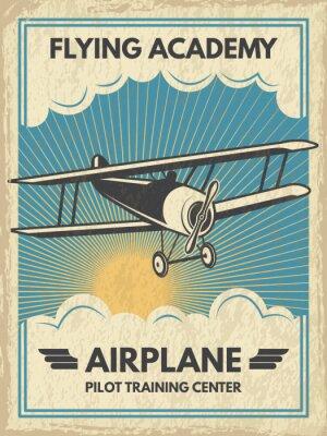 Canvastavlor Vintage aircaft affisch. Vektor illustration