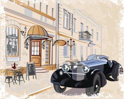 Canvastavlor Vintage bakgrund med en retro bil och musiker, gamla stan utsikt.