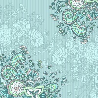 Canvastavlor Vintage bakgrund med klotter blommor på blå