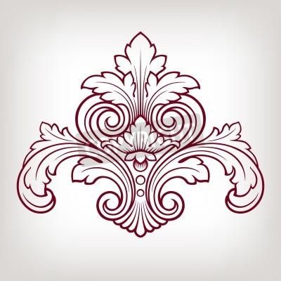 Canvastavlor vintage barock damastast design ram mönsterelement gravyr retrostil