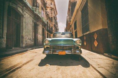 Canvastavlor Vintage bil parkerad i Havanna gata