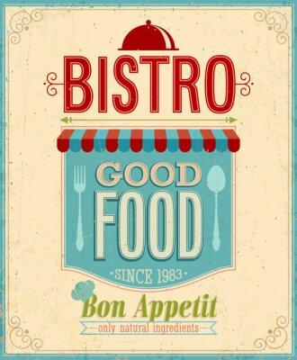 Canvastavlor Vintage Bistro affischen. Vektor illustration.