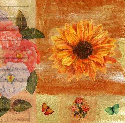 Canvastavlor Vintage collage med noter, fjärilar, rosor och solroso