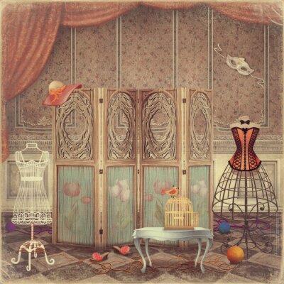Canvastavlor Vintage dummy och en skärm i rummet, modet och feminint